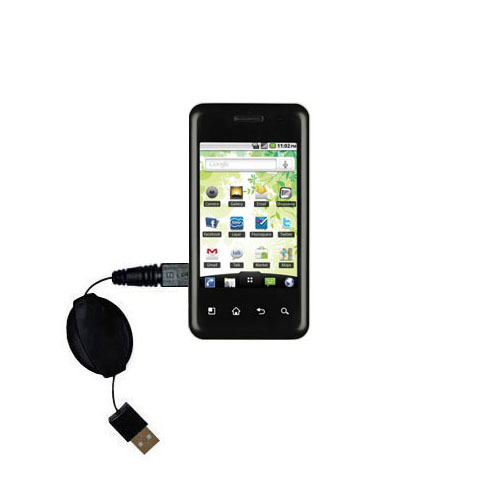 Retractable USB Power Port Ready charger cable designed for the LG Optimus T and uses TipExchange
