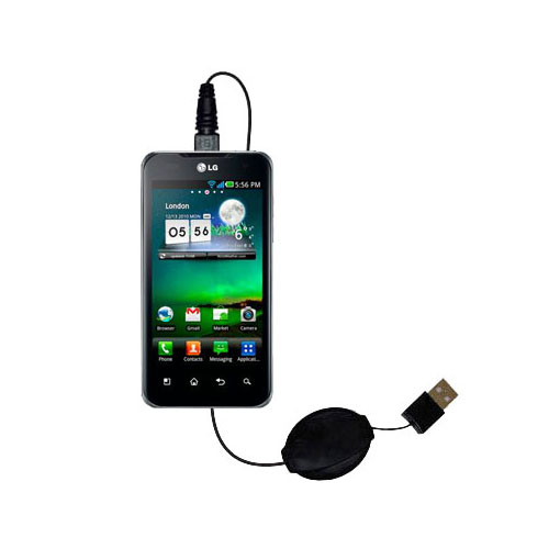 Retractable USB Power Port Ready charger cable designed for the LG Optimus True HD and uses TipExchange