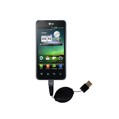 Retractable USB Power Port Ready charger cable designed for the LG Optimus Two and uses TipExchange