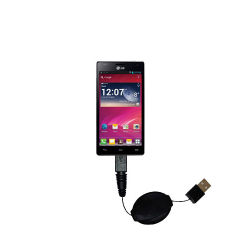 Retractable USB Power Port Ready charger cable designed for the LG P880 and uses TipExchange