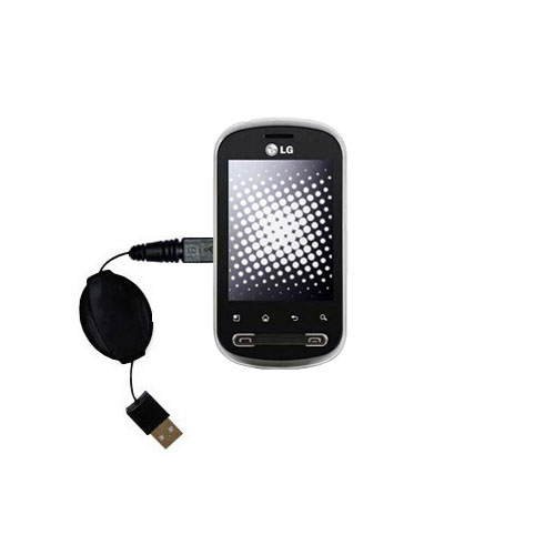 Retractable USB Power Port Ready charger cable designed for the LG Pecan and uses TipExchange