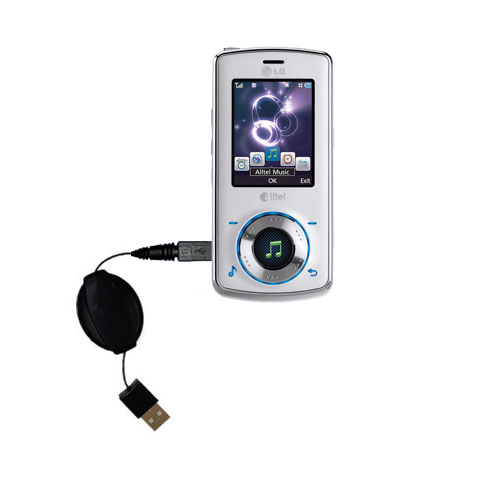Retractable USB Power Port Ready charger cable designed for the LG Rhythm and uses TipExchange