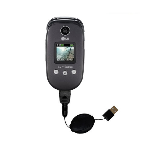 Retractable USB Power Port Ready charger cable designed for the LG VX8350 and uses TipExchange