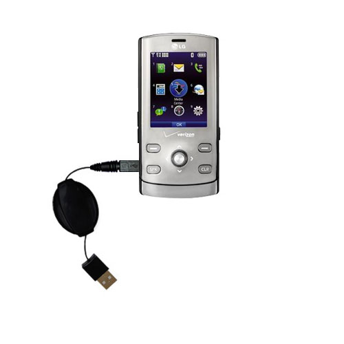 Retractable USB Power Port Ready charger cable designed for the LG VX8610 and uses TipExchange