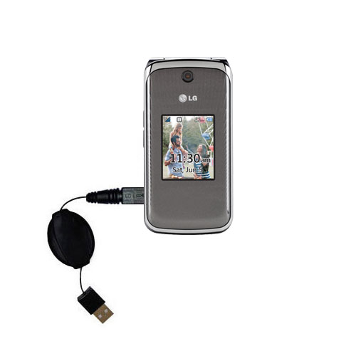 Retractable USB Power Port Ready charger cable designed for the LG Wine II and uses TipExchange