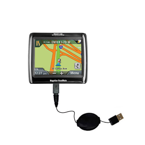 Retractable USB Power Port Ready charger cable designed for the Magellan Roadmate 1210 and uses TipExchange