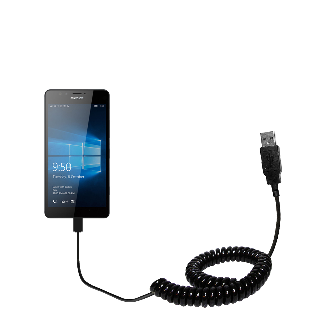Coiled Power Hot Sync USB Cable suitable for the Microsoft Lumia 950 with both data and charge features - Uses Gomadic TipExchange Technology
