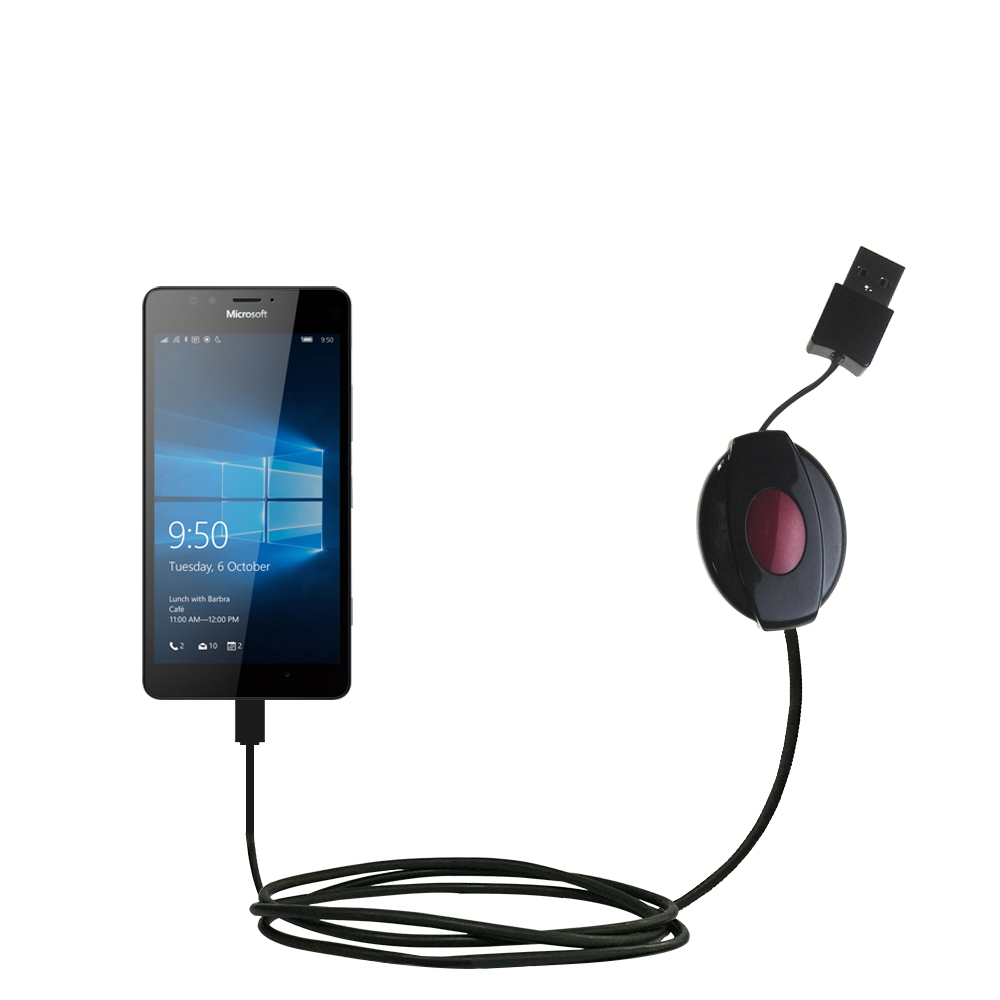 Retractable USB Power Port Ready charger cable designed for the Microsoft Lumia 950 and uses TipExchange