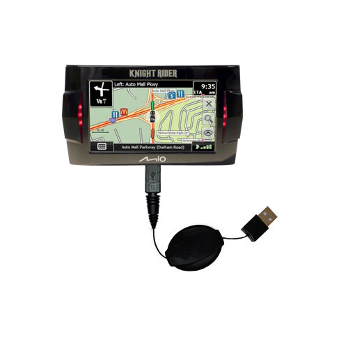 Retractable USB Power Port Ready charger cable designed for the Mio Knight Rider and uses TipExchange