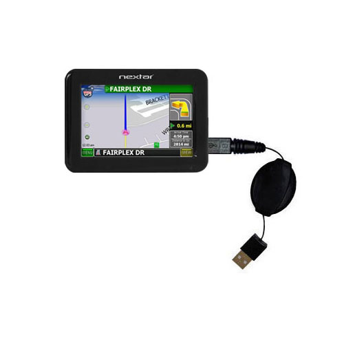 Retractable USB Power Port Ready charger cable designed for the Nextar K4 and uses TipExchange