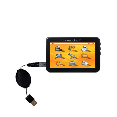 Retractable USB Power Port Ready charger cable designed for the Nextar K40 and uses TipExchange