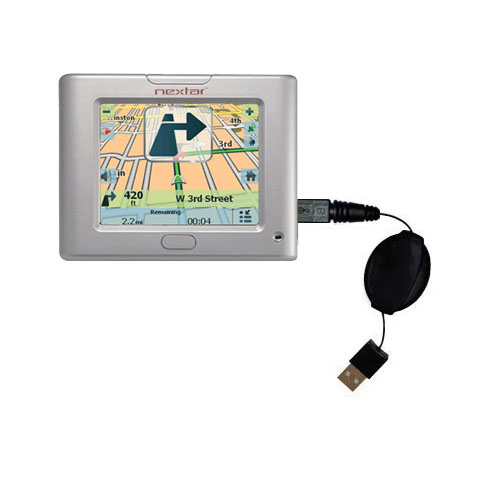 Retractable USB Power Port Ready charger cable designed for the Nextar S3 and uses TipExchange