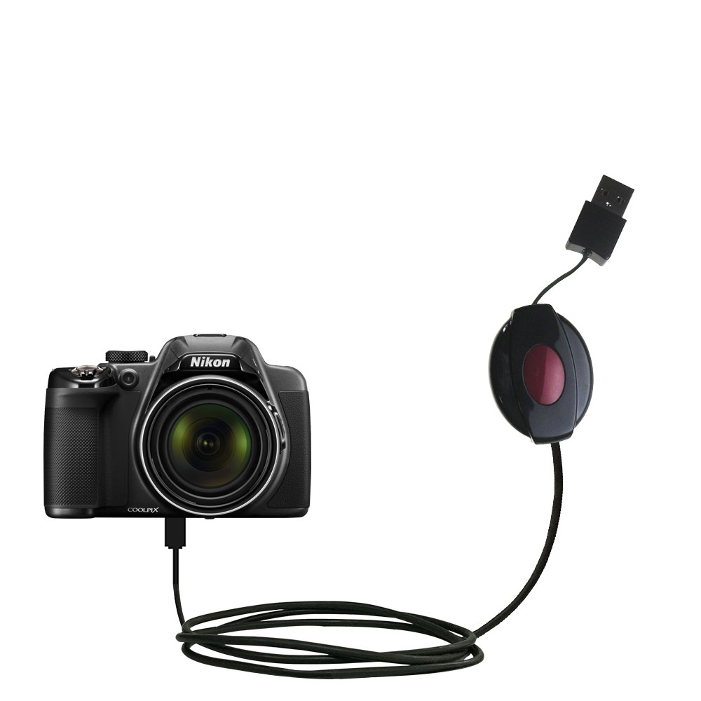 Gomadic USB Power Port Ready retractable USB charge USB cable wired specifically for the Fujifilm Finepix T500//T510 and uses TipExchange