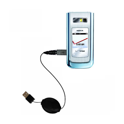 Retractable USB Power Port Ready charger cable designed for the Nokia 6205 and uses TipExchange