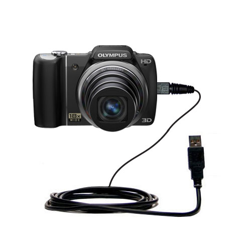 Classic Straight USB Cable suitable for the Olympus SZ-10 with Power Hot Sync and Charge Capabilities - Uses Gomadic TipExchange Technology