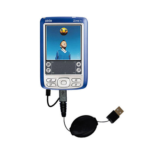 Retractable USB Power Port Ready charger cable designed for the Palm palm Zire 72s and uses TipExchange