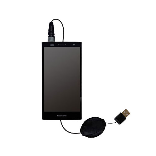 Retractable USB Power Port Ready charger cable designed for the Panasonic ELUGA Power and uses TipExchange