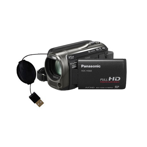 Retractable USB Power Port Ready charger cable designed for the Panasonic HDC-HS60 Video Camera and uses TipExchange