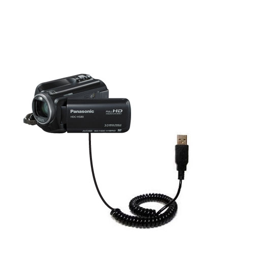 Coiled USB Cable compatible with the Panasonic HDC-HS80 Camcorder