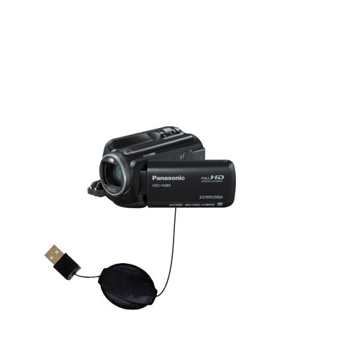 Retractable USB Power Port Ready charger cable designed for the Panasonic HDC-HS80 Camcorder and uses TipExchange