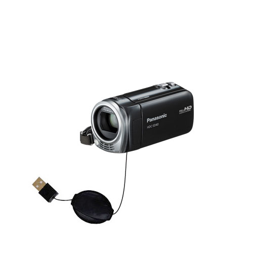 Retractable USB Power Port Ready charger cable designed for the Panasonic HDC-SD40 Camcorder and uses TipExchange