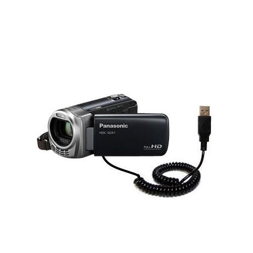 Coiled USB Cable compatible with the Panasonic HDC-SDX1H HD Camcorder