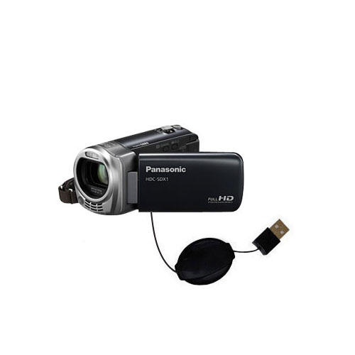 Retractable USB Power Port Ready charger cable designed for the Panasonic HDC-SDX1H HD Camcorder and uses TipExchange