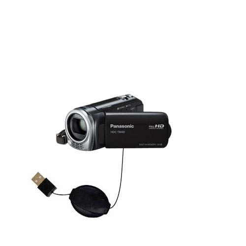 Retractable USB Power Port Ready charger cable designed for the Panasonic HDC-TM40 HDC-TM41 and uses TipExchange