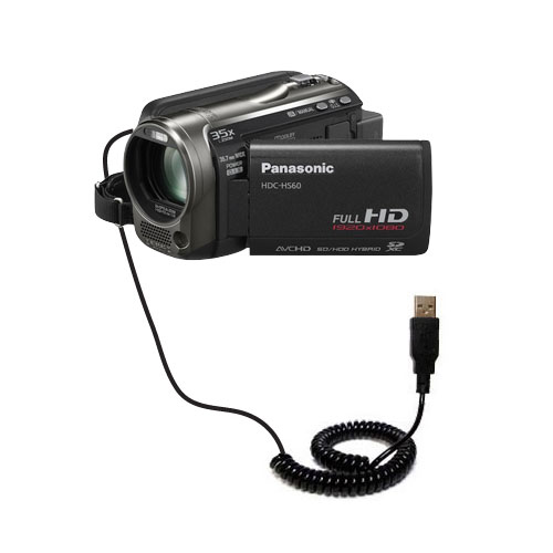 Coiled USB Cable compatible with the Panasonic HDC-TM55 Video Camera