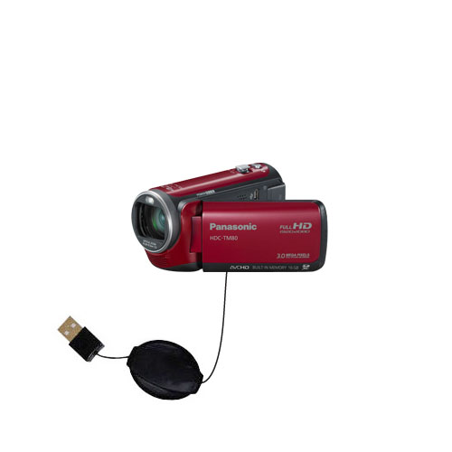 Retractable USB Power Port Ready charger cable designed for the Panasonic HDC-TM80 Camcorder and uses TipExchange