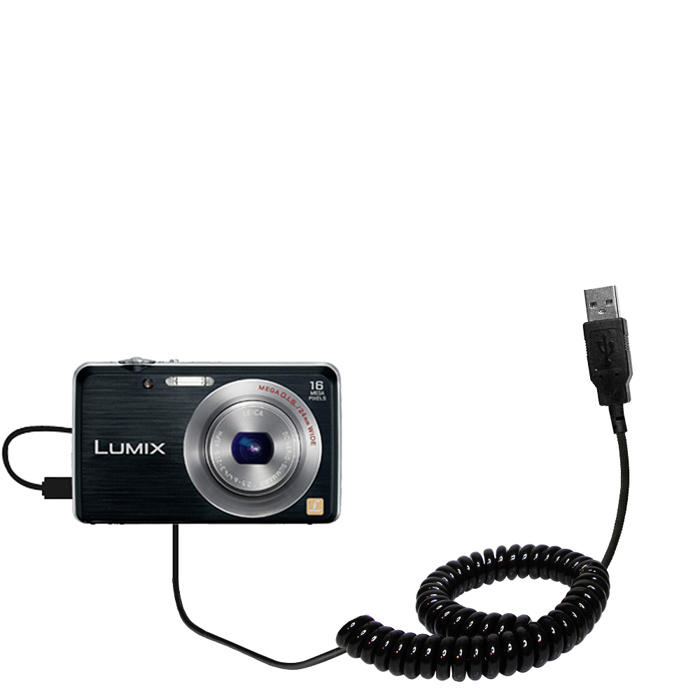 Coiled USB Cable compatible with the Panasonic Lumix DMC-FH8K