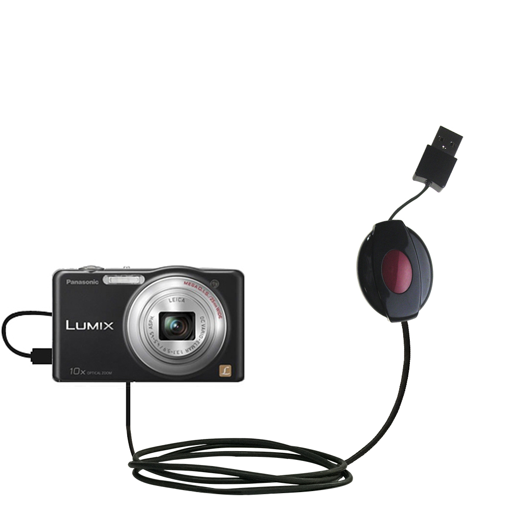 Retractable USB Power Port Ready charger cable designed for the Panasonic Lumix DMC-SZ1K and uses TipExchange