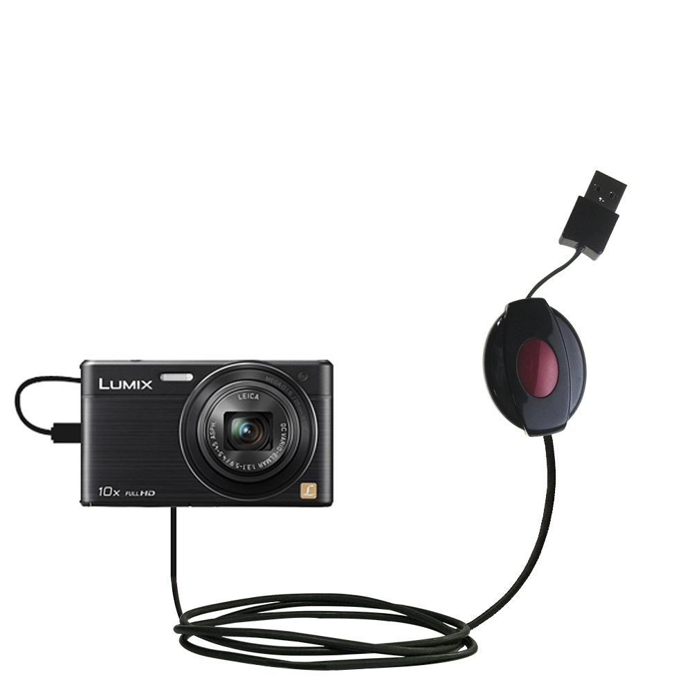 Retractable USB Power Port Ready charger cable designed for the Panasonic Lumix DMC-SZ9 and uses TipExchange