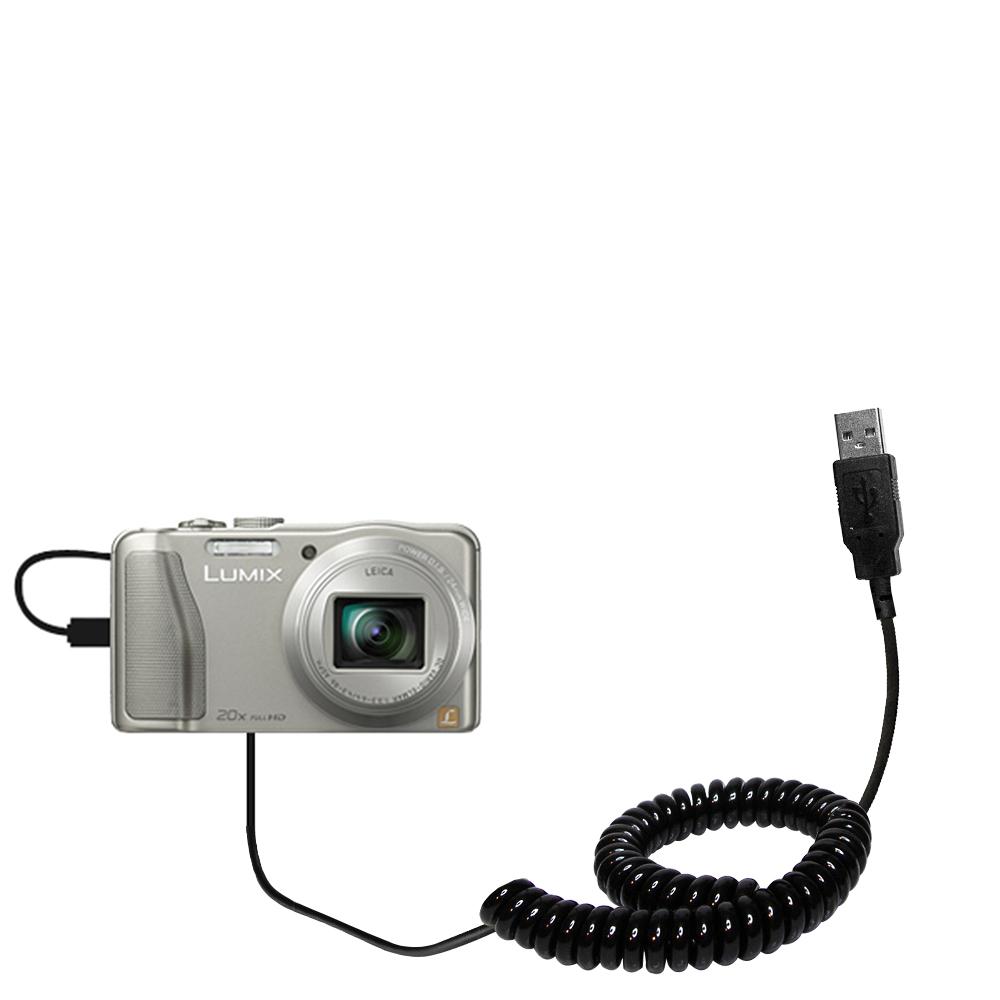 Coiled USB Cable compatible with the Panasonic Lumix DMC-TZ30 / DMC-TZ35