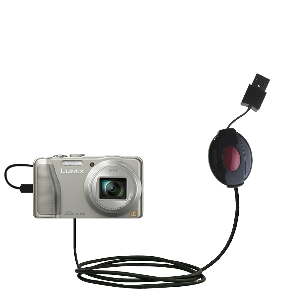 Retractable USB Power Port Ready charger cable designed for the Panasonic Lumix DMC-TZ30 / DMC-TZ35 and uses TipExchange