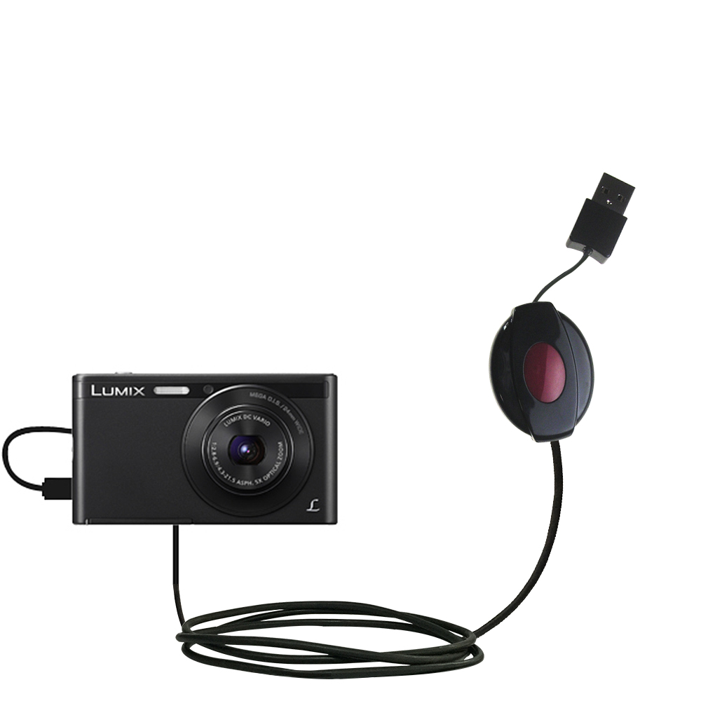 Retractable USB Power Port Ready charger cable designed for the Panasonic Lumix DMC-XS1K and uses TipExchange