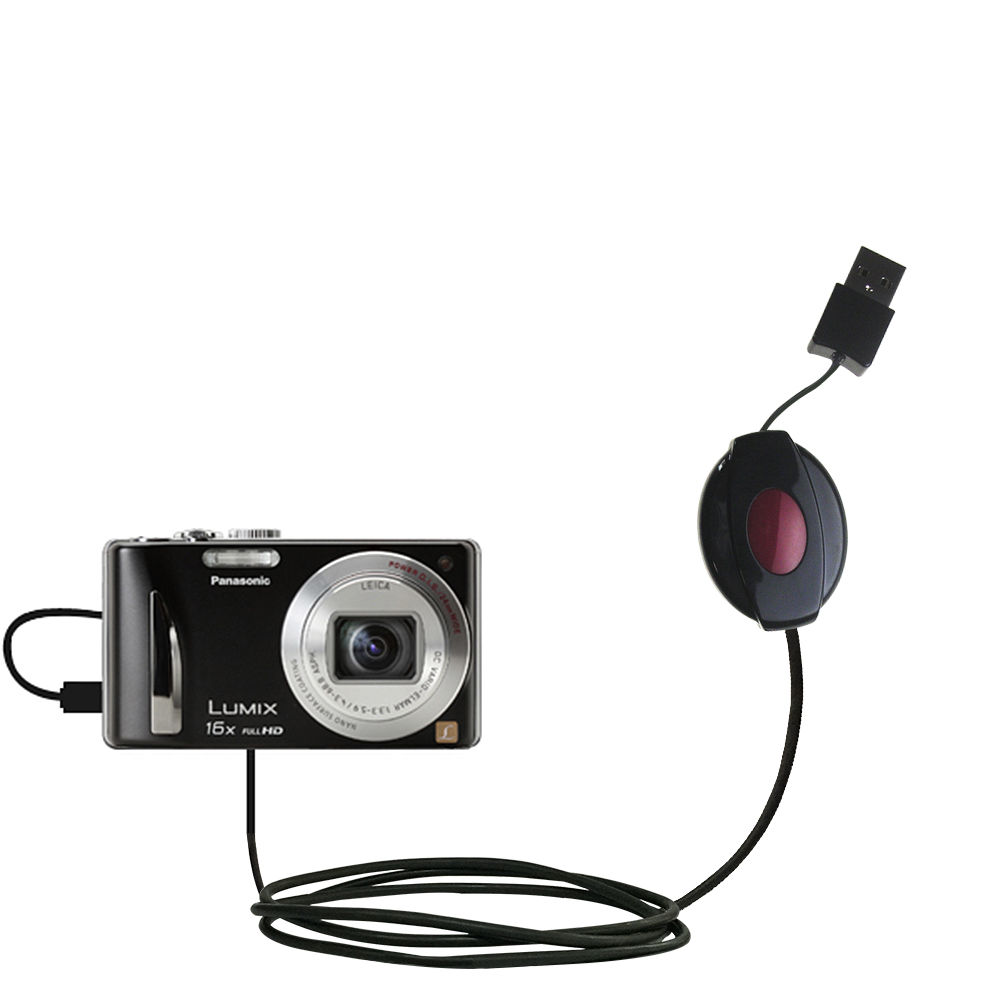 Retractable USB Power Port Ready charger cable designed for the Panasonic Lumix DMC-ZS15S and uses TipExchange
