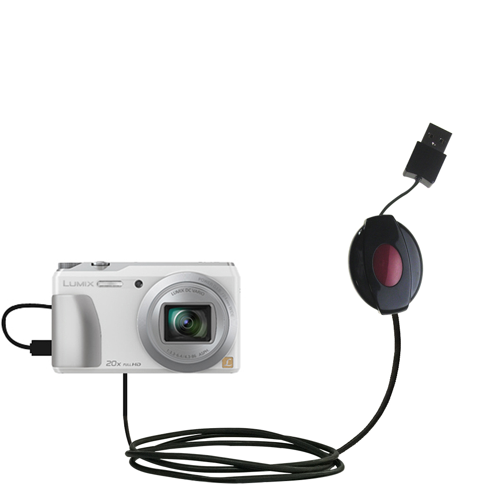 Retractable USB Power Port Ready charger cable designed for the Panasonic Lumix DMC-ZS20W and uses TipExchange