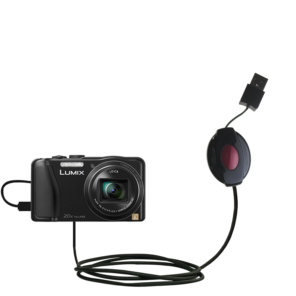 Retractable USB Power Port Ready charger cable designed for the Panasonic Lumix DMC-ZS25K and uses TipExchange