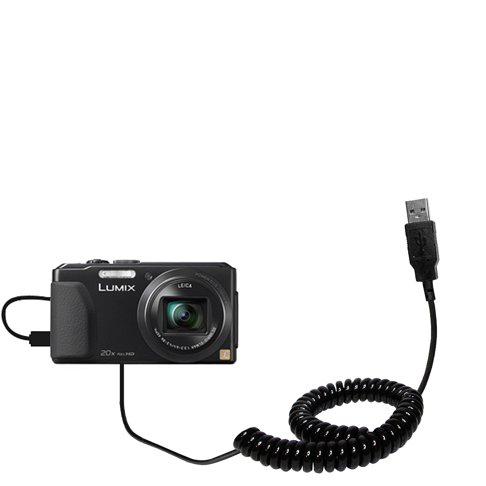 Coiled USB Cable compatible with the Panasonic Lumix DMC-ZS30K