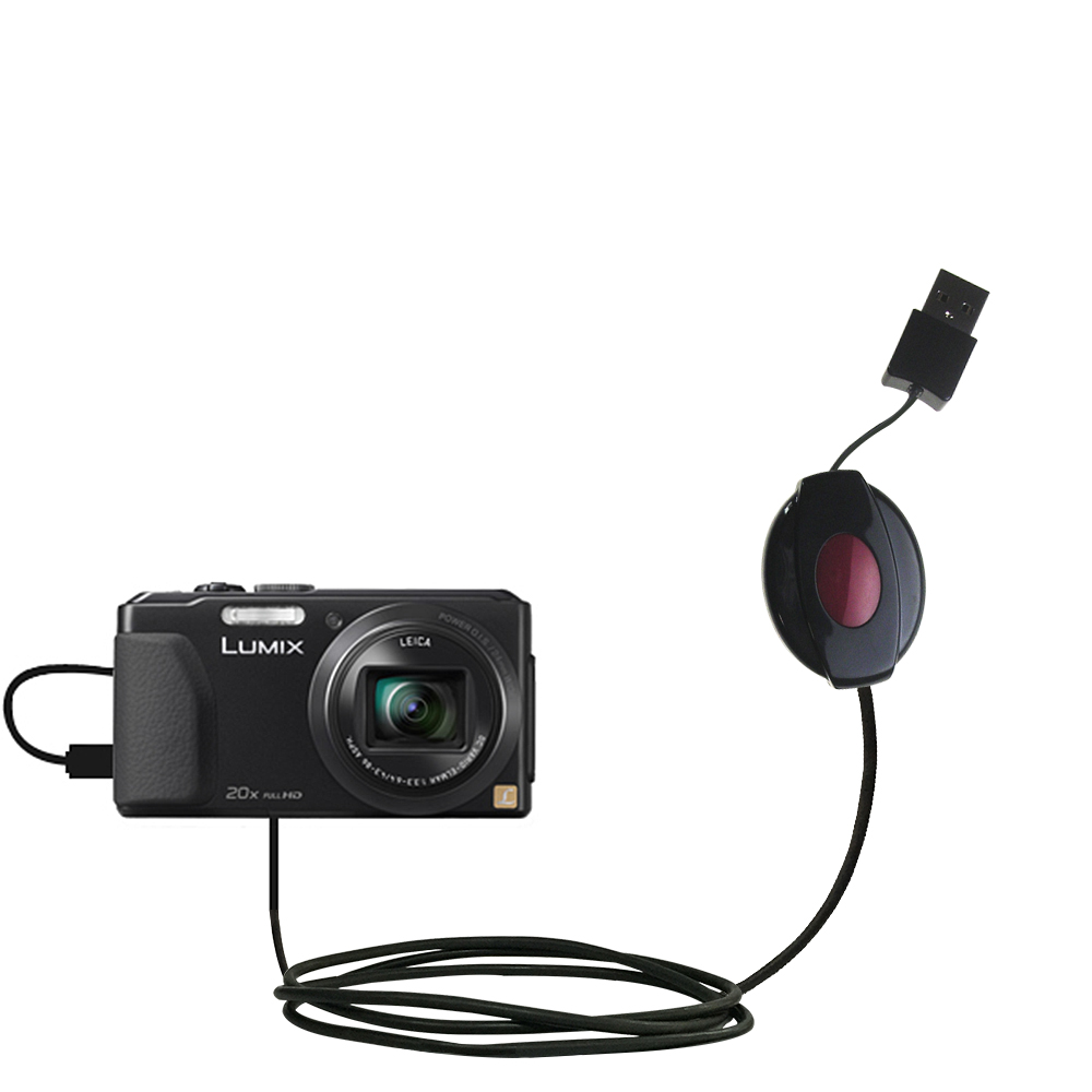 Retractable USB Power Port Ready charger cable designed for the Panasonic Lumix DMC-ZS30K and uses TipExchange