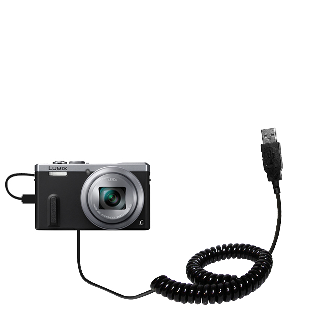 Coiled USB Cable compatible with the Panasonic Lumix DMC-ZS40