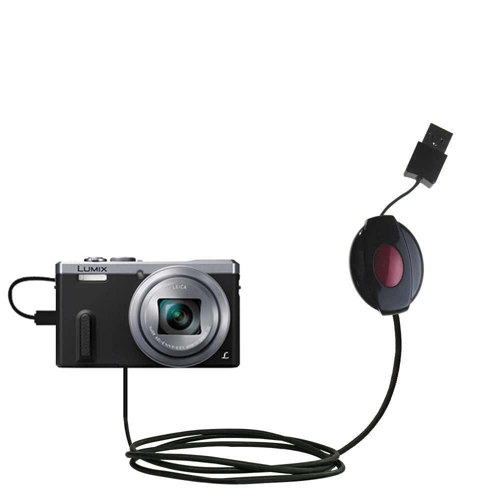 Retractable USB Power Port Ready charger cable designed for the Panasonic Lumix DMC-ZS40 and uses TipExchange