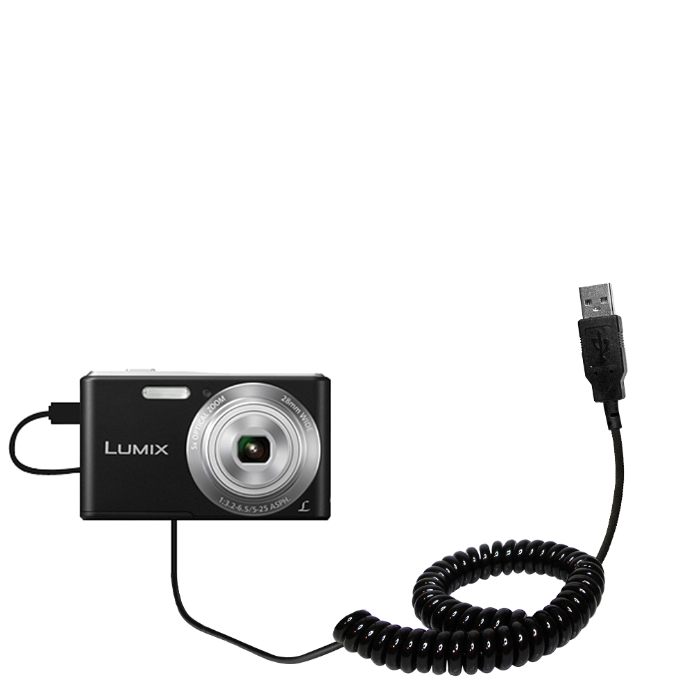 Coiled USB Cable compatible with the Panasonic Lumix F5 / DMC-F5