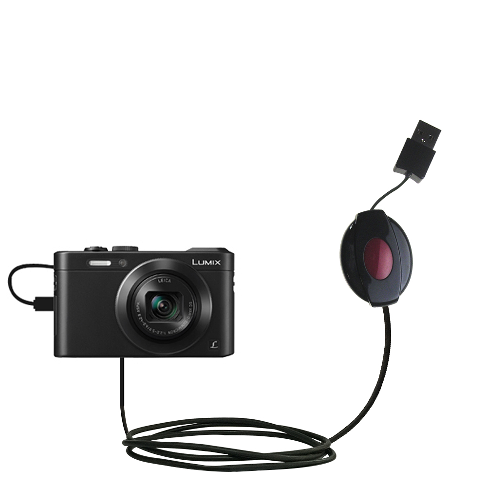 Retractable USB Power Port Ready charger cable designed for the Panasonic Lumix LF1 / DMC-LF1 and uses TipExchange