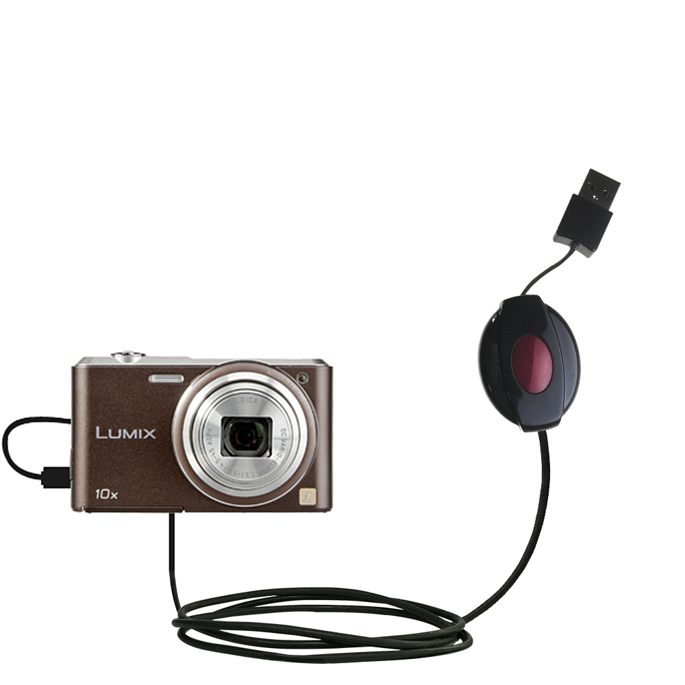 Retractable USB Power Port Ready charger cable designed for the Panasonic Lumix SZ3 / DMC-SZ3 and uses TipExchange