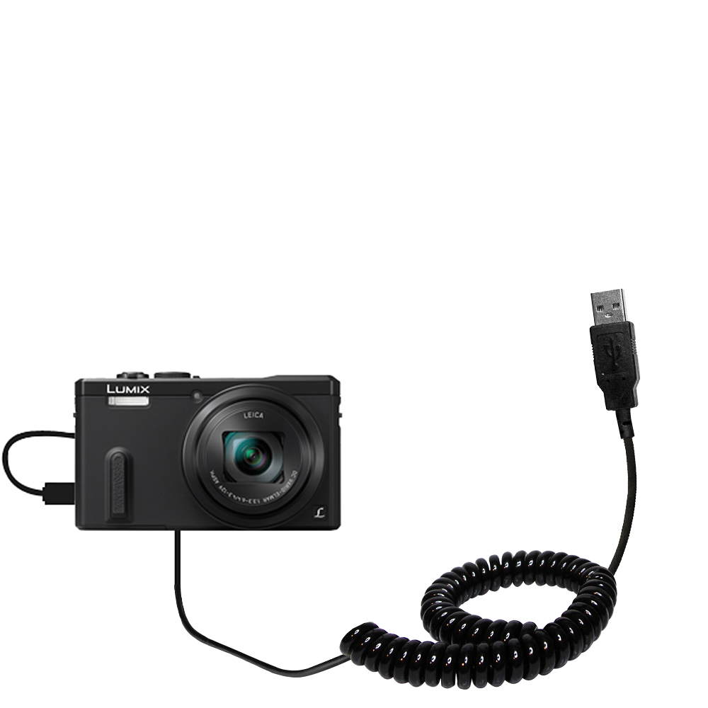 Coiled USB Cable compatible with the Panasonic Lumix ZS19 / ZS20