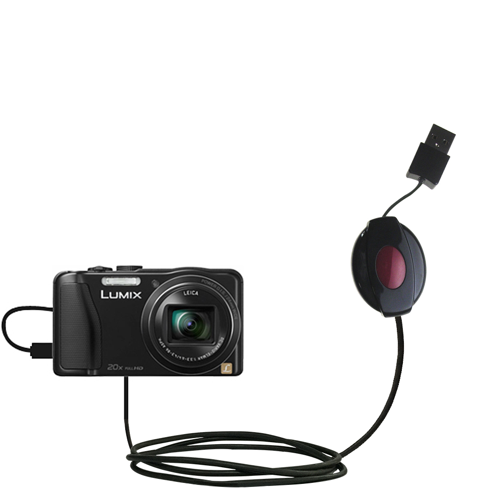 Retractable USB Power Port Ready charger cable designed for the Panasonic Lumix ZS25 / ZS30 and uses TipExchange
