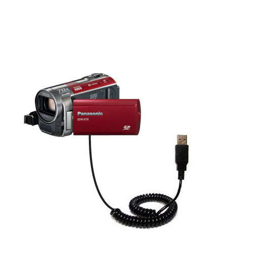 Coiled USB Cable compatible with the Panasonic SDR-570 Camcorder