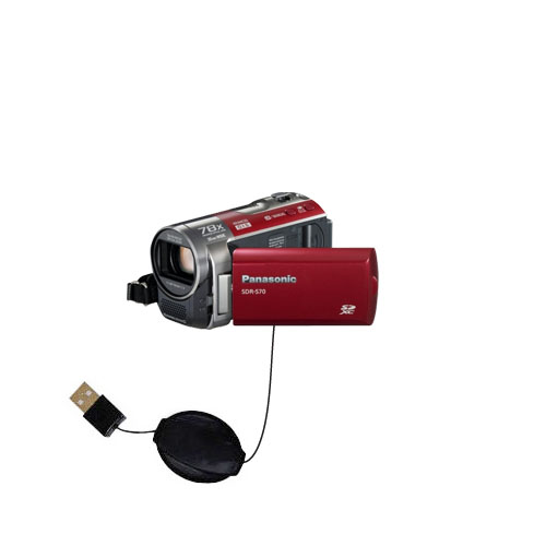 Retractable USB Power Port Ready charger cable designed for the Panasonic SDR-570 Camcorder and uses TipExchange
